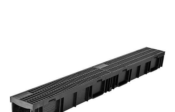 Водоотводный лоток Gidrolica пластиковый с пластиковой решеткой 1000х115х95 мм